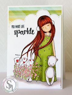 Designed by Maya.  Hair: TN3, TN4, TN5, TN7, TN8 Dress: CG1, DG2, CG2 Skin: FS1, FS4, TN2, CR3 Bear: BG1, BG2, CR3 Flowers: CR3, CR1, CG1, DG2 Cards, mug: CR10, CG1, BG1, BG2, TN8.  #spectrumnoir #gorjuss #crafting