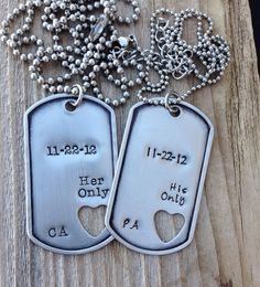 Custom military dog tags hand stamped his only her by CMKreations, $29.00