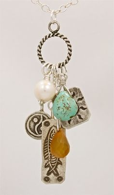 Charm necklace w/natural turquoise & hill tribe silver charms