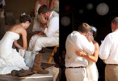 This is the most precious wedding picture I've ever seen. The bride washing the groom's feet..... I think this would be awesome to wash each others feet as a symbol of service to each other