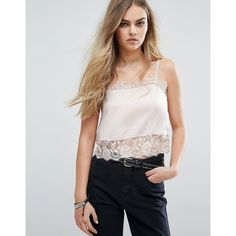 Pull&Bear Cami Top With Lace Detail (€22) ❤ liked on Polyvore featuring tops, pink, square neck tank top, cropped camisoles, crop tank, pink tank and lace trim tank