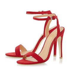 Head Over Heels by Dune Red two part high heel strappy sandals at Debenhams Mobile