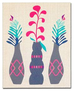 """Embroidered Artwork, Wall Hanging - """"Vase Trio"""""""