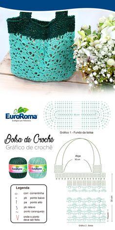 Linda bolsa de crochê utilizando o EuroRoma Brilho na cor 810 - Verde Água Claro e 804 - Verde Musgo.