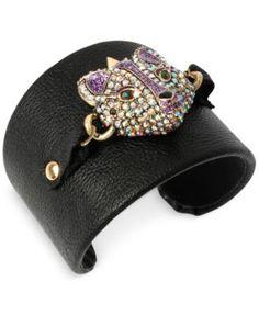 Betsey Johnson Gold-Tone Crystal Fox Faux Leather Cuff Bracelet
