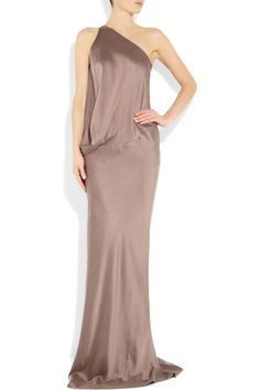 kaufmanfranco one-shoulder washed stretch-silk gown