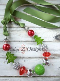 SALE  Christmas Tree Satin Chunky Necklace by babyzdesigns, $11.99