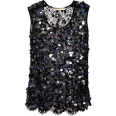Clements Ribeiro Sequined cobweb lace tank ($385) found on Polyvore