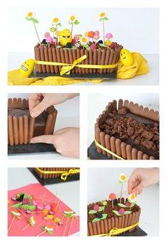 Mon Gâteau de Pâques... Jardinière au chocolat et bonbons  Cake au chocolat, streusel noisette et cacoa, décoration friandises    / Autour de Cia