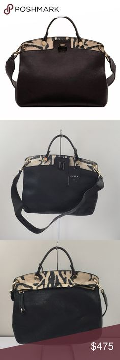 """New Furla Piper Lux black leather bag purse The Piper lux, with top handle, is a must-have bag to sport whenever you want to have add a twist to your outfit.  100% leather   Measurements: Length: 12""""  / Height: 11""""  / Width 3""""  / Strap Drop: 2.5"""" / Longer Strap: 12""""   Condition: New with tags. Missing mini lock on front. No dustbag  Retails $748 + tax!  Comes from a smoke free home  Stock #: AMR9-126 Furla Bags Satchels"""