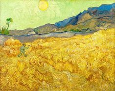 Vincent Van Gogh, Wheatfield With a Reaper, September, 1889 Van Gogh Wallpaper, Van Gogh Arte, Van Gogh Pinturas, Vincent Willem Van Gogh, Yellow Artwork, Yellow Fields, Van Gogh Paintings, Paintings Famous, Face Paintings