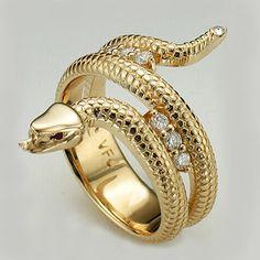 Custom made gold snake ring from Vandenbergs.