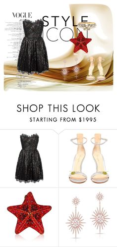 """Dark Shining Star"" by zerinaa2 ❤ liked on Polyvore featuring Yves Saint Laurent, Gianvito Rossi, Judith Leiber and Anne Sisteron"