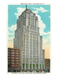 size: Art Print: Cleveland, Ohio - Oh Bell Telephone Co Building Exterior by Lantern Press : Entertainment Cleveland Rocks, Cleveland Ohio, County Seat, Lake Erie, Building Exterior, City Buildings, Willis Tower, Telephone, Empire State Building