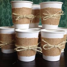 Items similar to Burlap Cups for a Wedding Shower, Bridal Shower, Wedding, Baby Shower or Birthday Party. Centerpieces on Etsy Deco Baby Shower, Baby Shower Fall, Baby Shower Themes, Baby Boy Shower, Baby Shower Decorations, Burlap Decorations, Diy Shower, Baby Shower Table Set Up, Decoration Crafts