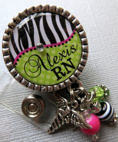 RN Nurse ID Badge Reel Personalized Name Silver by buttonit, $19.00
