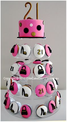 Fashion Theme Birthday Cupcakes, 21st Birthday Cupcakes designed by EliteCakeDesigns Sydney
