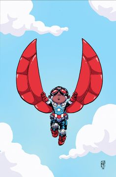 It doesn't get more adorable than Sam Wilson as the All New Captain America (by Skottie Young).