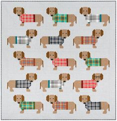 Dogs in Sweaters quilt sewing pattern from Elizabeth Hartman. This quilt sewing pattern includes instructions for making two quilt sizes and a x quilted pillow cover. Diy Sewing Projects, Quilting Projects, Quilting Designs, Dog Quilts, Animal Quilts, Quilt Baby, Elizabeth Hartman Quilts, Sweater Quilt, Barbie Vintage