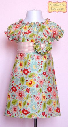 Peasant dress, girls dress, floral dress, Spring dress, toddler dress, dress-Girls sizes 3 months-6 years