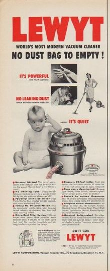"""Description: 1952 LEWYT vintage print advertisement """"No Dust Bag"""" -- Lewyt -- World's Most Modern Vacuum Cleaner -- No Dust Bag To Empty! Do It With Lewyt -- Size: The dimensions of the half-page advertisement are approximately 5.25 inches x 14 inches (13.25 cm x 35.5 cm). Condition: This original vintage half-page advertisement is in Excellent Condition unless otherwise noted."""