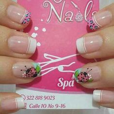uñas Love Nails, Fun Nails, Pretty Nails, Hello Nails, Nail Picking, Nail Tip Designs, French Tip Nails, Cute Nail Art, Beautiful Nail Designs