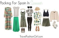 What to Pack for Spain in the Summer Spain's summer season will certainly toast its travelers, with the hottest temperatures arriving in mid-August. Spain And Portugal, Portugal Travel, Spain Travel, Packing For Europe, Packing Tips For Travel, Travel Wardrobe, Capsule Wardrobe, Outfits For Spain, Travel Ootd