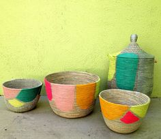 Basket design DIY- use spray paint and painters tape to add cool graphics to a plain basket