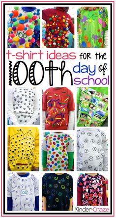 Cute T-shirt idea for Day - we are doing t-shirts this year This kindergarten class celebrated its day of school with TONS of activities & crafts! Come check out the fashion show, the hat, the t-shirts & MORE! 100 Day Of School Project, 100 Days Of School, School Holidays, School Fun, School Projects, 100 Day School Shirt, School Stuff, Project 100, Class Projects