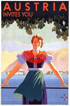 Austria invites you. Vintage Austrian travel poster showing a young woman in front of a village and mountains, circa 1934. Inquiries answered by all travelling agencies. Published by the Austrian Federal Ministry for Commerce and Traffic, Bureau of the State Secretary for Employment and Tourist Traffic. Atelier Binder Wien. Illustrated by Joseph Binder.
