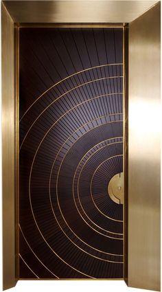 Really like this Art Deco Styled front door ; Wooden Front Doors, The Doors, Entrance Doors, House Entrance, Modern Wood Doors, Modern Entrance Door, Main Entrance Door Design, Timber Door, Panel Doors