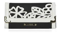 LYDC 3D Floral Pattern Matinee Ladies Large Purse Wallet - Black & White
