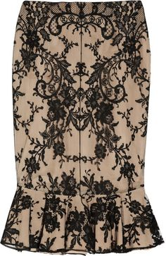 ALEXANDER MCQUEEN ENGLAND Fluted Lace and Silk Skirt