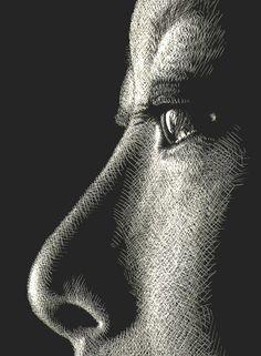 A study on Eyes and Noses - WetCanvas Ap Drawing, Black Paper Drawing, Gravure Illustration, Illustration Art, Scratchboard Art, Engraving Art, Scratch Art, Ap Art, Linocut Prints