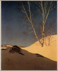 """White Birches in the Snow"" (1952) by Maxfield Parrish"