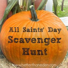 The All Saints' Day Scavenger Hunt - Mary Haseltine - Better Than Eden Catholic Religious Education, Catholic Crafts, Catholic Kids, Catholic School, Catholic Saints, Catholic Holidays, Catholic Homeschooling, Children Church, Church Crafts