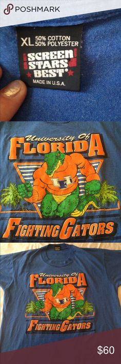 "Florida Fighting Gators Vintage Tshirt XL Vintage Florida Fighting Gators Tshirt Size XL by Screen Stars Best in good preowned condition. 50/50 cotton-poly. Rare t-shirt with screen printing with minimal fading. Great gift idea or for the ultimate collector. Armpit to armpit 23"" Screen Stars Best Shirts Tees - Short Sleeve"