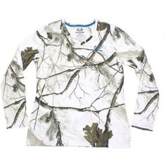 Women's Long Sleeve Camo Tee, Available in Multiple Patterns, Size: Large, White