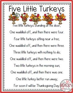 5 Little Turkeys Thanksgiving Activities Kindergarten
