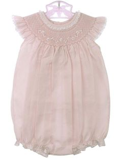 NEW Feltman Brothers Pink Smocked Bubble with Angel Wing Sleeves $65.00
