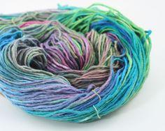Teal Party 100% Recycled Silk Roving Yarn #3 Dk Lt Worsted 100gr 180yds Wicca #darngoodyarn #Handspun
