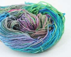 Teal Party 100% Recycled Silk Roving Yarn #3 Dk Lt Worsted 100gr 180yds Wicca #darngoodyarn #Handspun