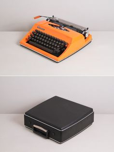 1970s Triumph Contessa de luxe Typewriter. Excellent working conditon. German vintage typewriter. Bright orange color. With Case.