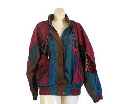 90s Jacket Hipster Light Fall Colorblock Floral Velvet by #ShineBrightVintage