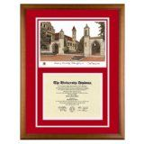 Indiana University (Bloomington) Diploma Frame with IU Lithograph Art PrintBy Old School Diploma Frame Co.