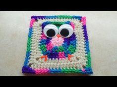 How to crochet granny square owl. Tutorial piastrella coi gufi all'uncinetto. - Leon Video
