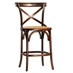 """Crafted with a solid hardwood frame, the vintage-inspired French-style Gaston counter stool is reminiscent of those in a Parisian bistro. Crafted of antique brown finished oak, the counter stool features swooping """"X"""" and steel cross detailing and a plush cushioned rattan-covered seat.  <BR><BR> • Hardwood Frame<BR> • Antique Brown Finish<BR> • Rattan Cushion Seat<BR> • Wipe with a soft clean cloth<BR> • 20""""L x 20""""D x 38""""H  <BR><BR><strong>Return Policy</strong><BR> Due to the size of this…"""