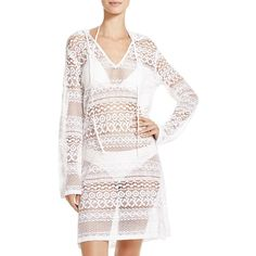 Boho Me Hooded Mini Dress Swim Cover-Up ($80) ❤ liked on Polyvore featuring swimwear, cover-ups, white, white cover up, crochet cover up, beach cover up, white swimwear and crochet beach cover up