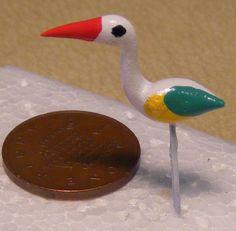 1:12 Single Ceramic Heron Bird Dolls House Miniature Garden Pet Accessory H7