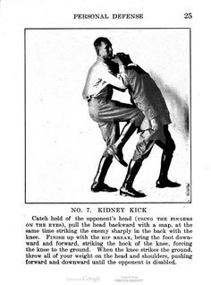 "A brutal rear takedown from ""Hand-to-Hand Fighting"", by A. E. Marriott, 1918."